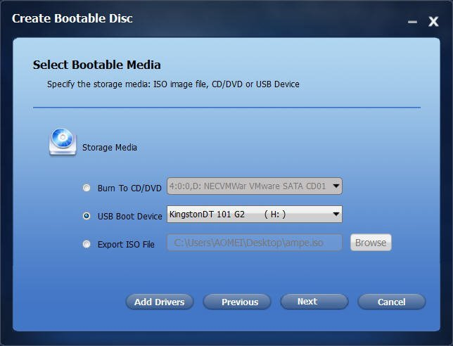 Select Bootable Media