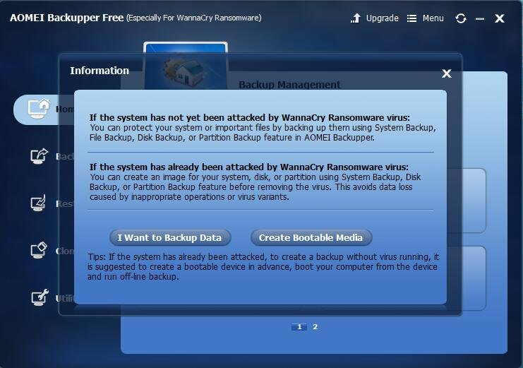 Backup Data for Ransomware WannaCry