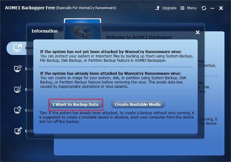 AOMEI Backuper Free for WannaCry Ransomware