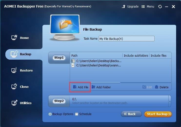 Select Files to Backup