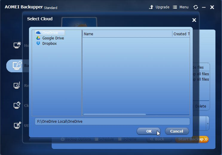 how to use onedrive as a backup drive