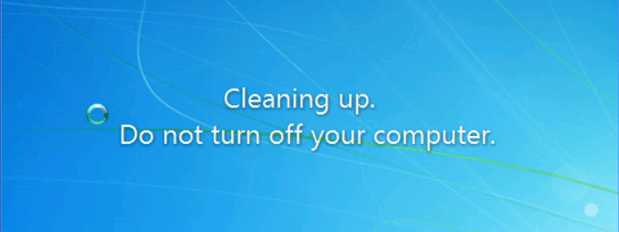 "Solved|""Cleaning up  Do Not Turn off Your Computer """