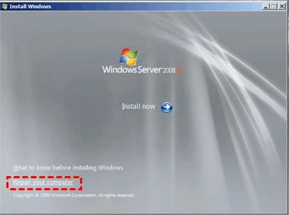 Repair Your Computer Server 2008 R2