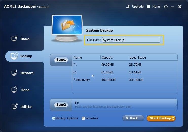 System Backup Task Name