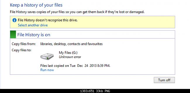 File History Doesn't Recognize This Drive