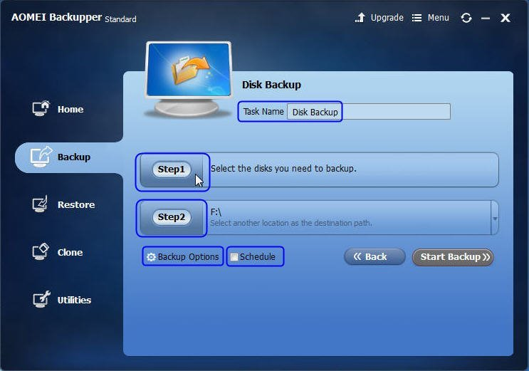 Disk Backup Settings