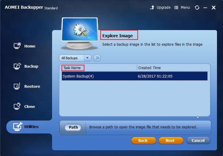 Choose Backup Image