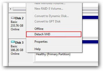 Manage Detach VHD