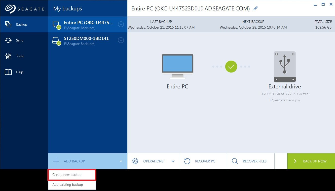 Seagate DiscWizard Image Backup