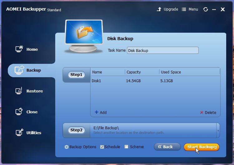 Start USB Image Backup