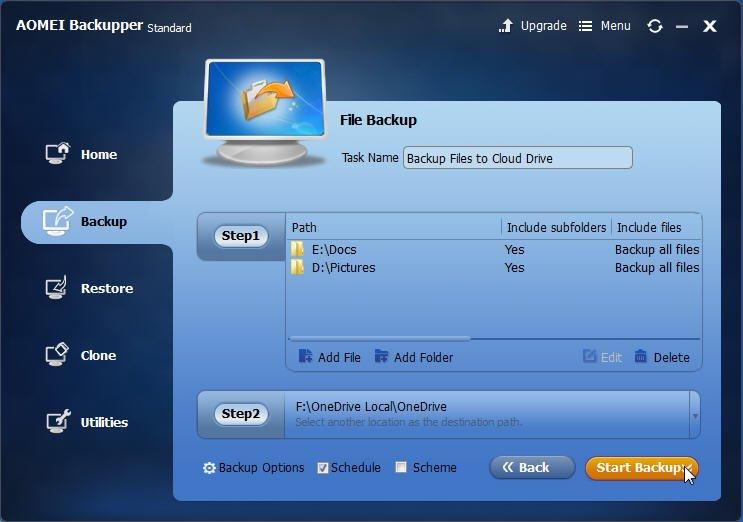 Start Backup Files to OneDrive