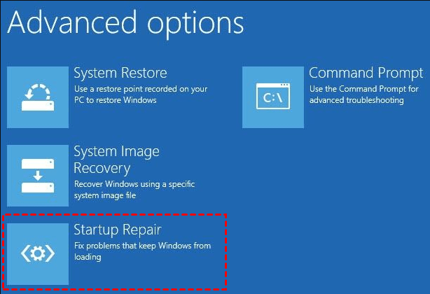 Startup Repair Advanced Options