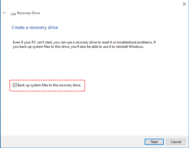 Backup to Recovery Drive