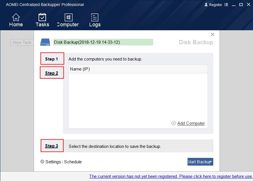 Create Disk Backup Task