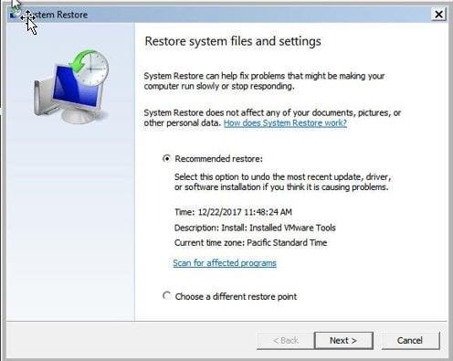 System Restore Safe Mode