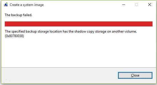 Backup Failed Shadow Copy