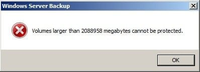 Volumes Larger Than 2TB Cannot Be Protected