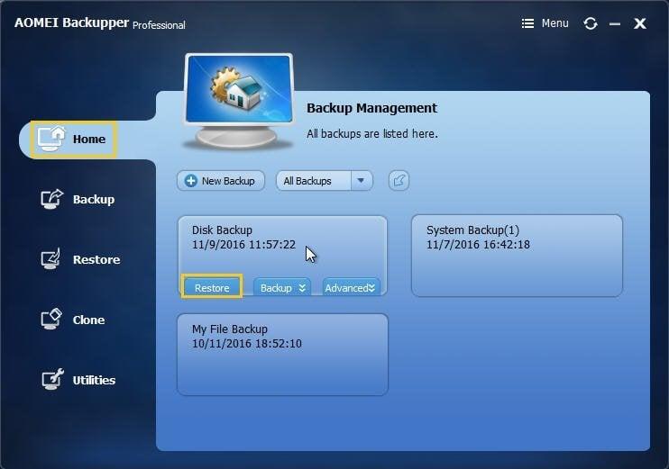 Disk Backup Restore