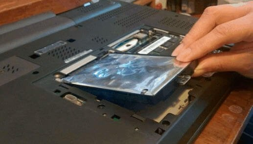 Remove hard drive in laptop