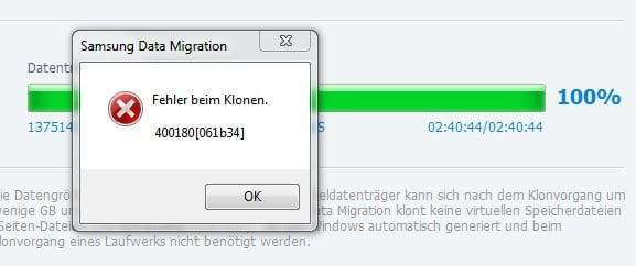 Samsung Data Migration Fehler beim Klonen