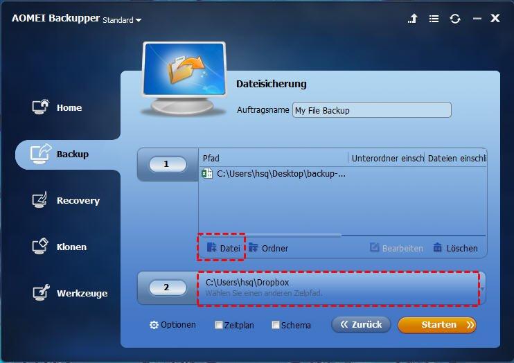 Dateien auf Dropbox sichern