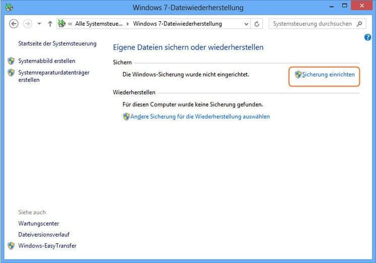 Win7 Dateiwiederherstellung