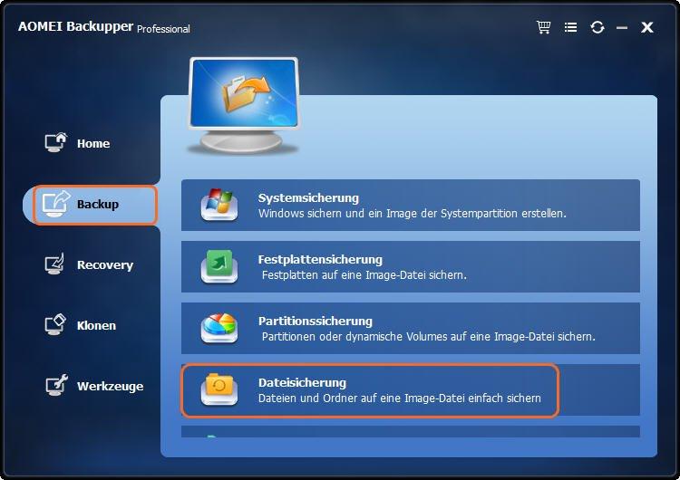 Datei sichern