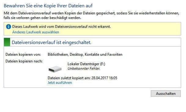 Dateiversionsverkauf erkennt das Laufwerk nicht