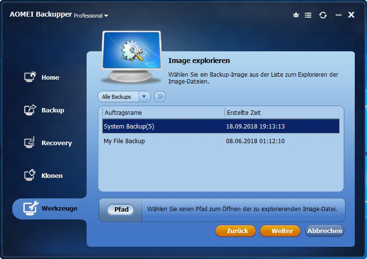 windows system backup explorieren