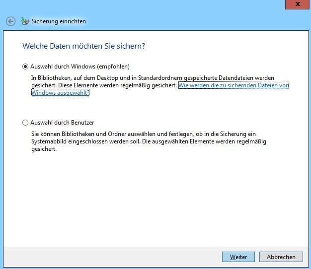 Auswahl durch Windows