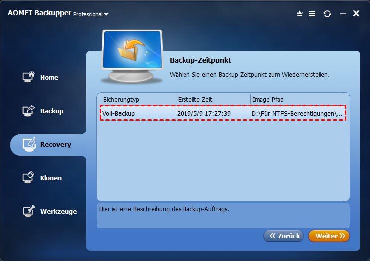Backup-Zeitpunkt