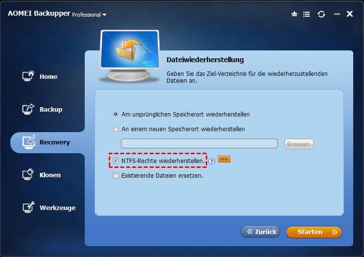 NTFS-Rechte wiederherstellen