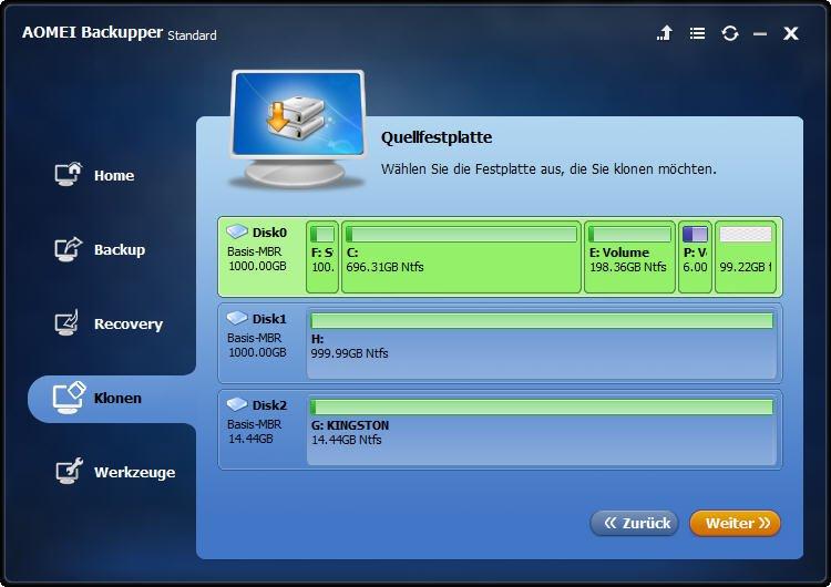 alte SSD auswählen