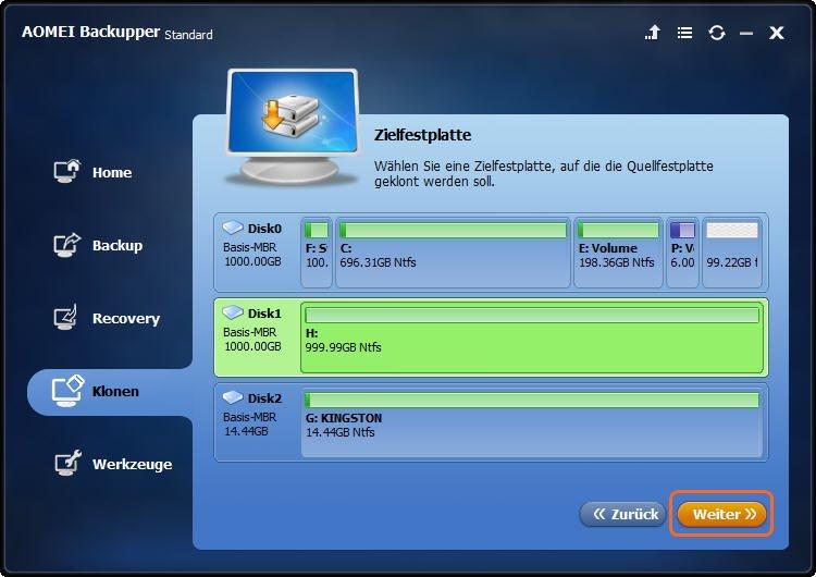 neue SSD als Zielfestplatte