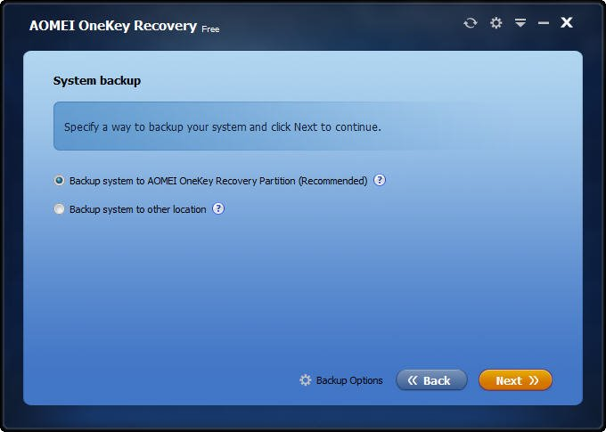 Backup System to AOMEI OneKey Recovery Partition