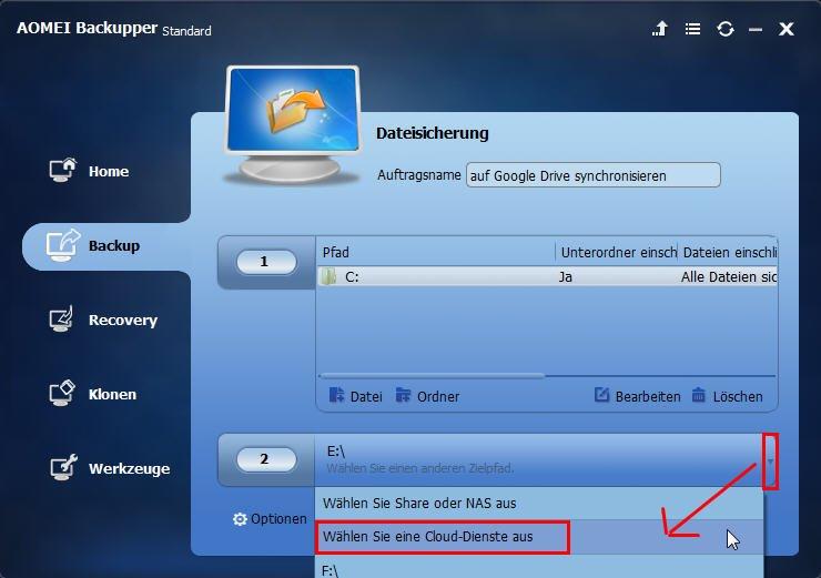 Cloud Dienste auswählen