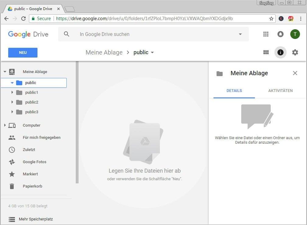 Dateien auf freigebenes Google Drive