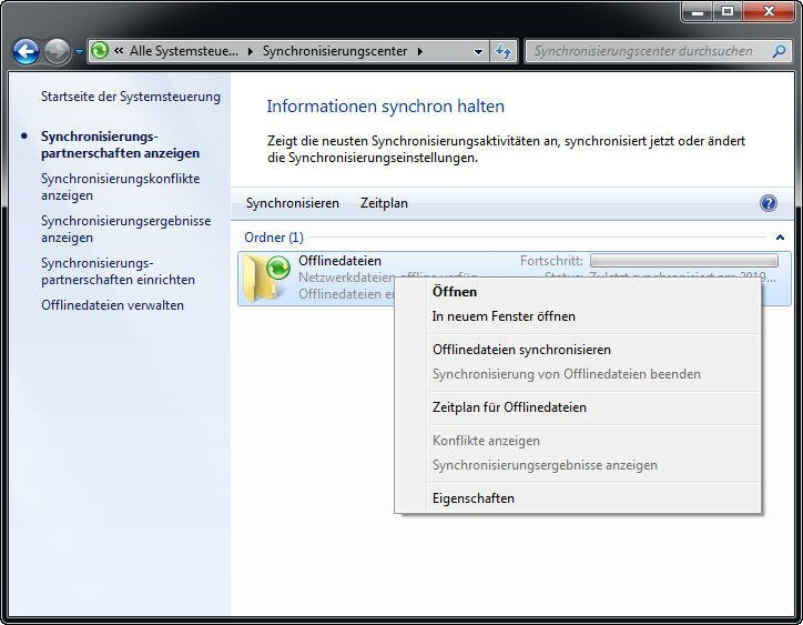 Ordner synchronisieren mit Windows 7 Synchronisierungscenter