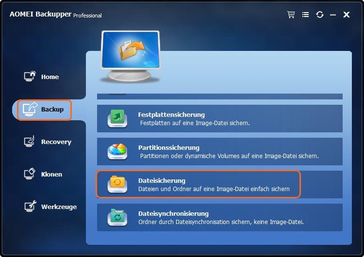 Dateien sichern