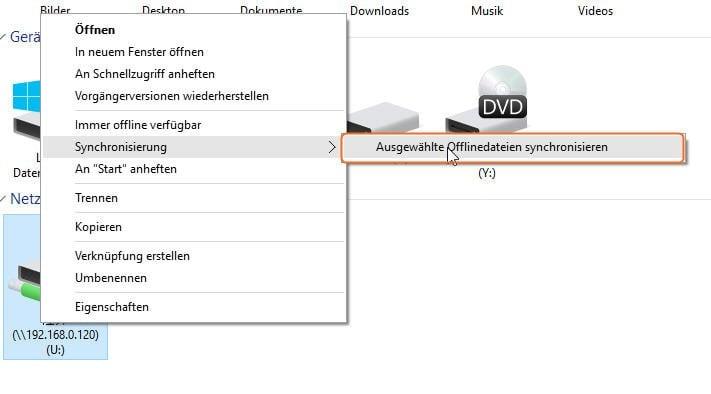 Sync with Offline Files Folder Min