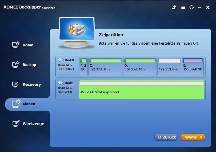 Kostenlose Windows 10 Klon Software Aomei Backupper