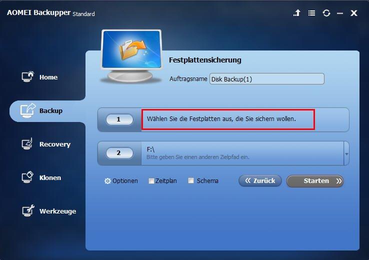 Festplatte auswählen