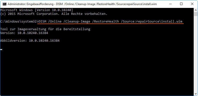 Windows 10 mit DISM reparieren