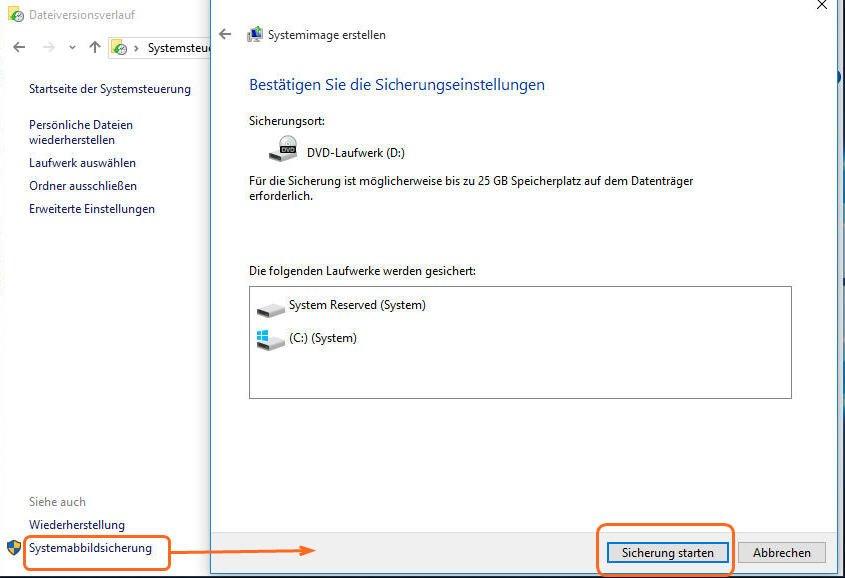 Dateiversionsverlauf Windows 10