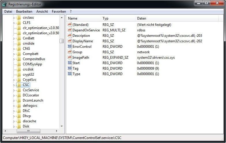 Offline Dateien Cache neu initialisieren