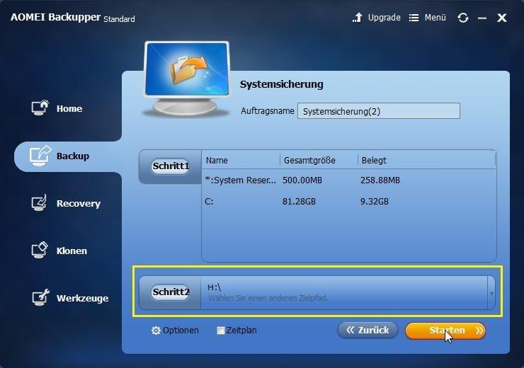 Externe Festplatte wählen