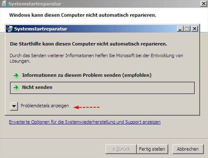 Systemstartreparatur Windows 7 Dauer