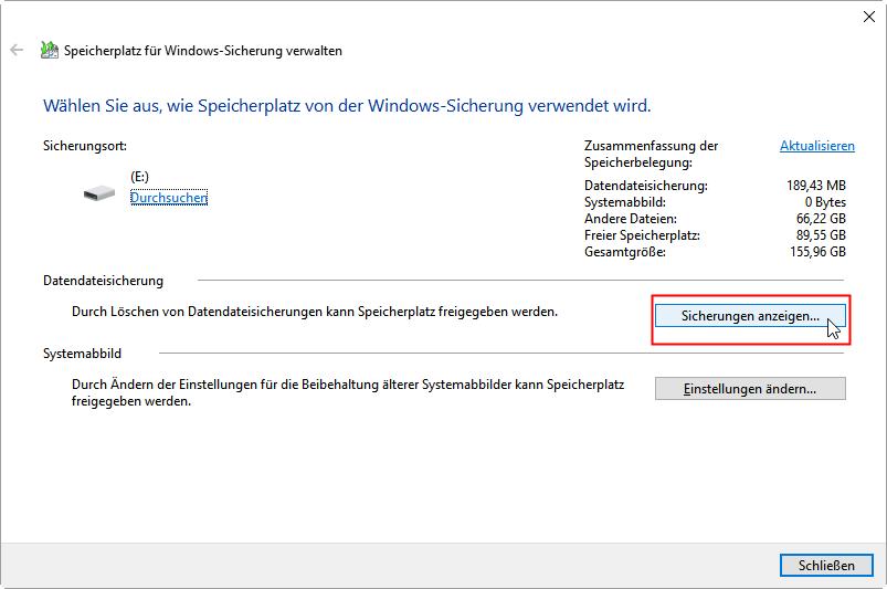 Windows 7 Sichern Und Wiederherstellen Löscht Die Alte Backups