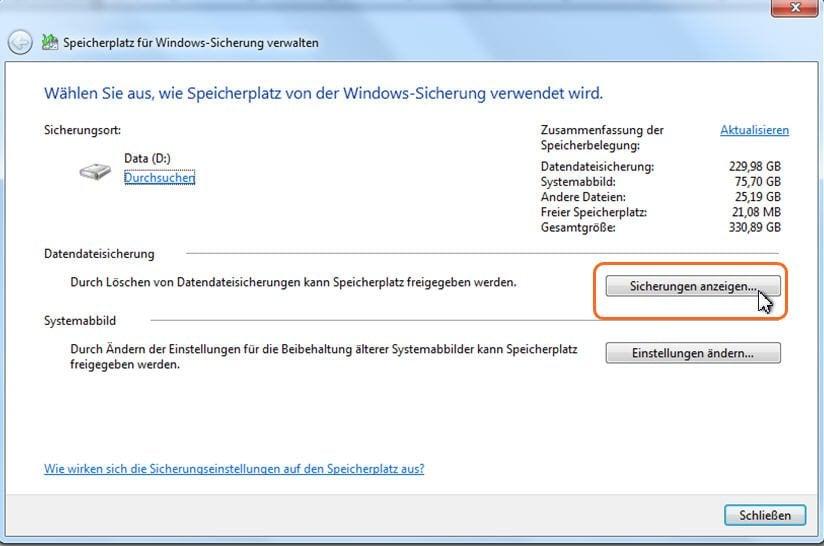Speicherplatz für Windows Sicherung