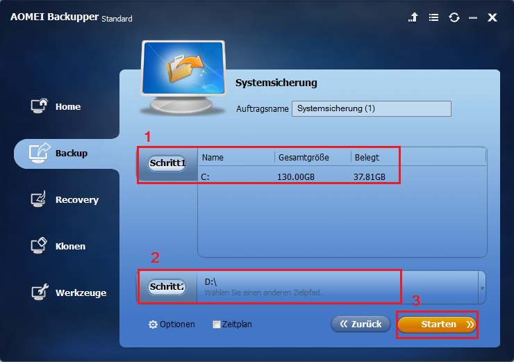 Choose system backup